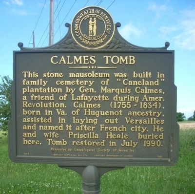 Calmes Tomb Marker image. Click for full size.