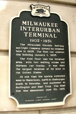 Milwaukee Interurban Terminal, 1905-1951 Marker image. Click for full size.