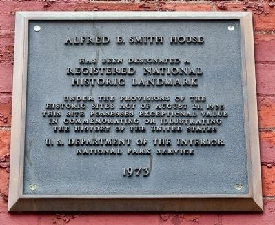 Alfred E. Smith House Marker image. Click for full size.