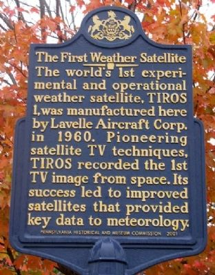 The First Weather Satellite Marker image. Click for full size.