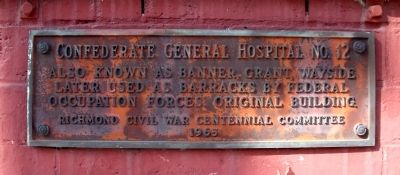 Confederate General Hospital No. 12 Marker image. Click for full size.