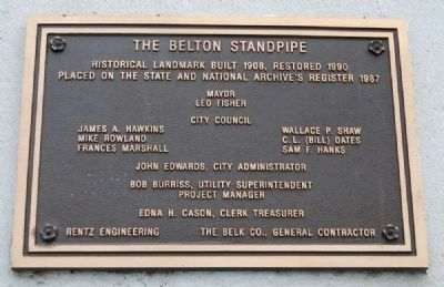 The Belton Standpipe Plaque image. Click for full size.