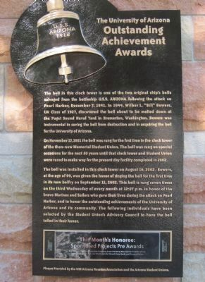 "U.S.S. Arizona 1916 - Wilber L. ""Bill"" Bower U of A Outstanding Achievement Awards Marker image. Click for full size."
