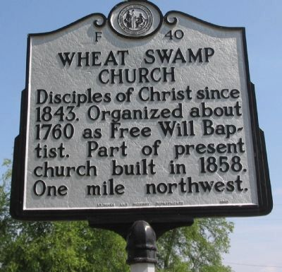 Wheat Swamp Church Marker image. Click for full size.
