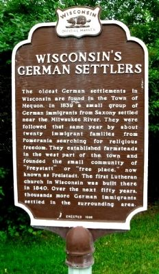 Wisconsin's German Settlers Marker image. Click for full size.