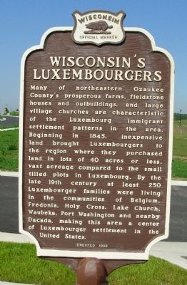 Wisconsin's Luxembourgers Marker image. Click for full size.