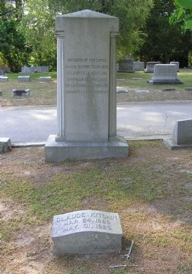 Claude Kitchin Grave site image. Click for full size.