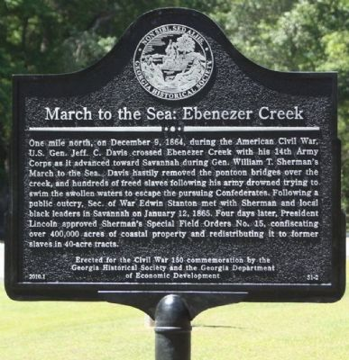 March to the Sea: Ebenezer Creek Marker image. Click for full size.