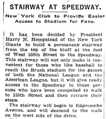 May 13, 1913 article about John T. Brush Stairway construction image. Click for full size.