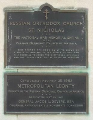 The National War Memorial Shrine of the Russian Orthodox Church of America Marker image. Click for full size.