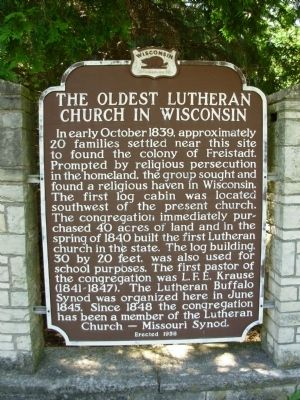Oldest Lutheran Church in Wisconsin Marker image. Click for full size.