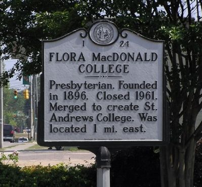 Flora MacDonald College Marker image. Click for full size.