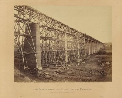 High Bridge crossing the Appomattox, near Farmville, on South Side Railroad, Va. image. Click for full size.