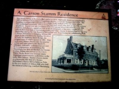 A. Carson Stamm Residence Marker image. Click for full size.