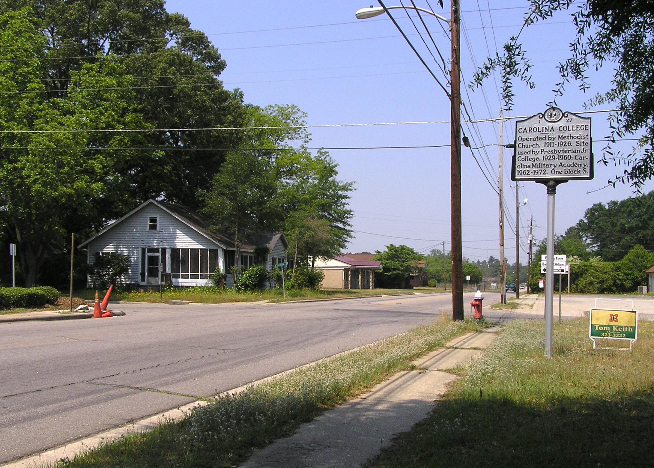 Wide view of the Carolina College Marker