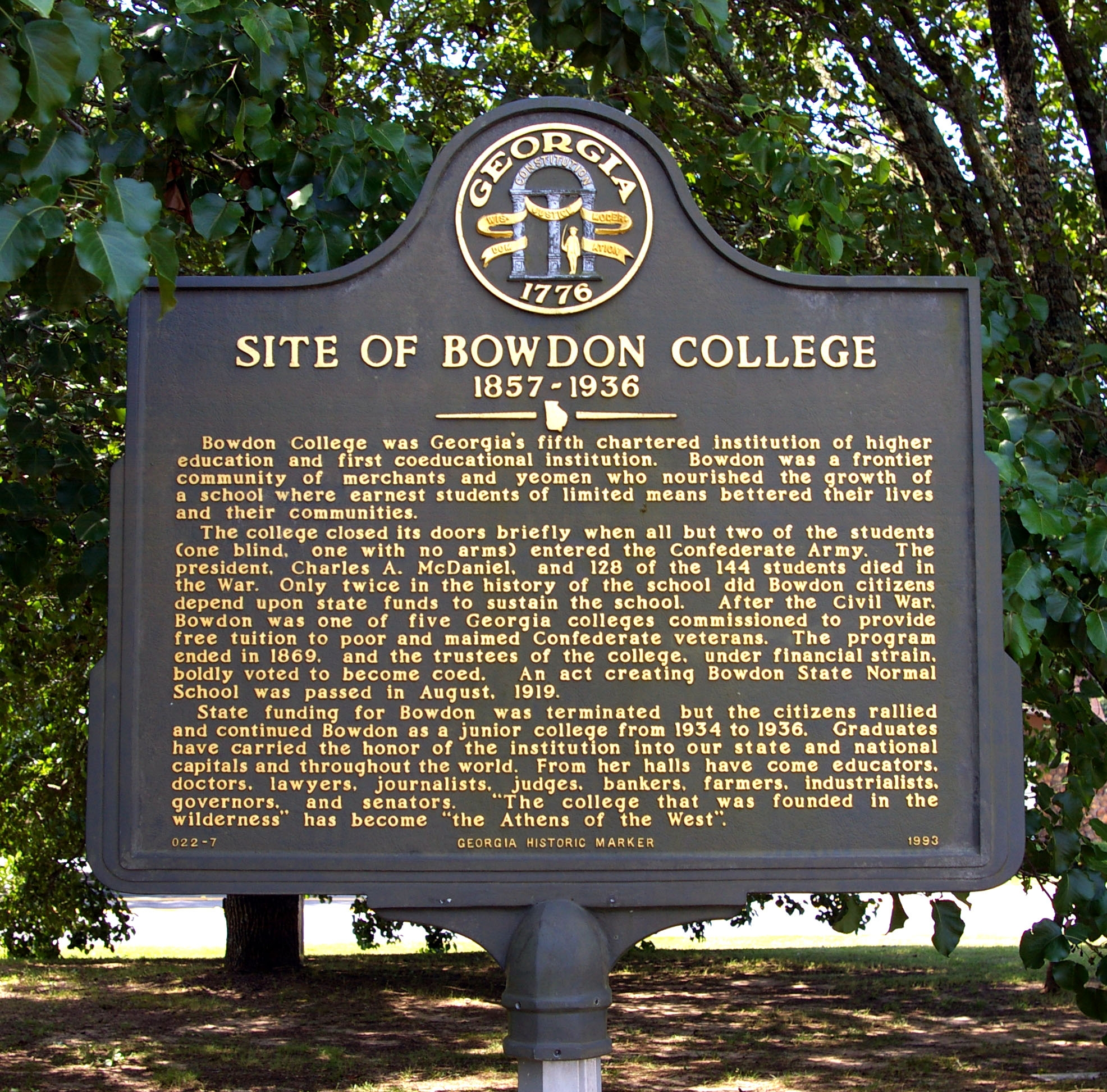 Site of Bowdon College Marker