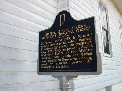 Obverse Side - - Shaffer Chapel African Methodist Episcopal Church Marker image. Click for full size.