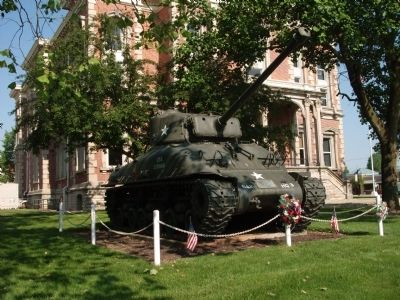 W.W. II and Korean Conflict - War Memorial Marker & Tank image. Click for full size.