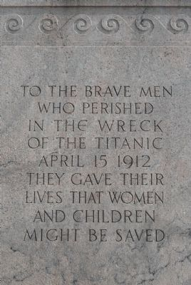 Titanic Memorial Marker - north face image. Click for full size.
