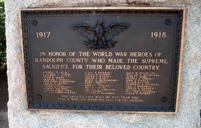 Front Plaque - World War I War Memorial Marker image. Click for full size.