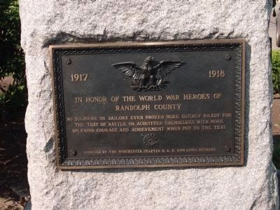 Left Side Plaque - World War I War Memorial Marker image. Click for full size.