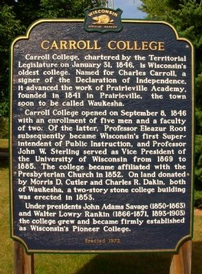 Carroll College Marker image. Click for full size.