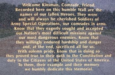 USASOC Memorial Wall Tribute image. Click for full size.