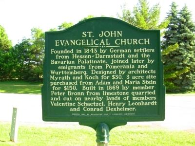 St. John Evangelical Church Marker image. Click for full size.