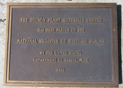The Tucson Plant Materials Center Marker image. Click for full size.