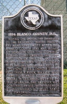 1894 Blanco County Jail Marker image, Touch for more information
