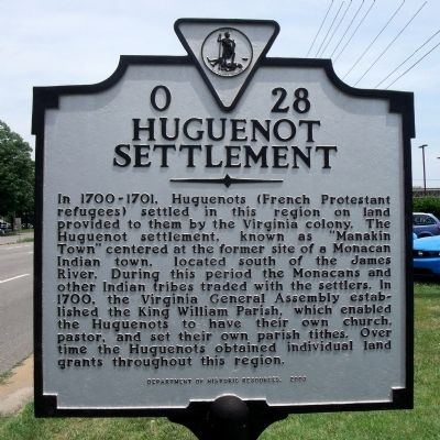 Huguenot Settlement Marker image. Click for full size.