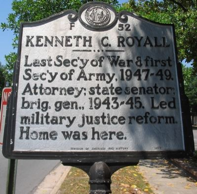 Kenneth C. Royall Marker image. Click for full size.