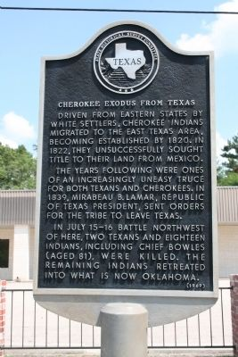 Cherokee Exodus From Texas Marker image. Click for full size.