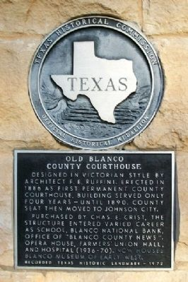 Old Blanco County Courthouse Marker image. Click for full size.