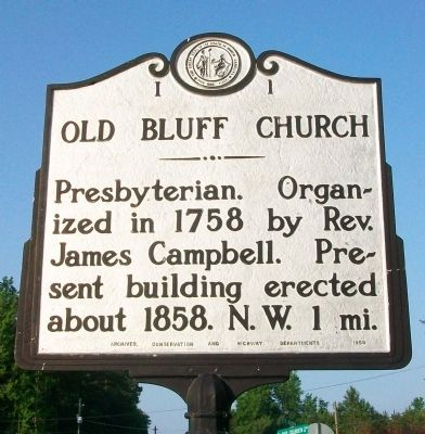 Old Bluff Church Marker image. Click for full size.