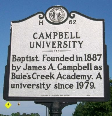 Campbell University Marker image. Click for full size.