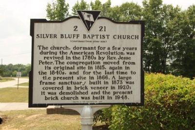 Silver Bluff Baptist Church Marker, reverse side image. Click for full size.