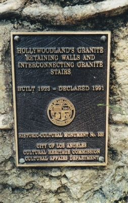 Hollywoodland's Retaining Walls and Interconnecting Granite Stairs Marker image. Click for full size.