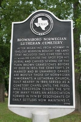 Brownsboro Norwegian Lutheran Cemetery Marker image. Click for full size.