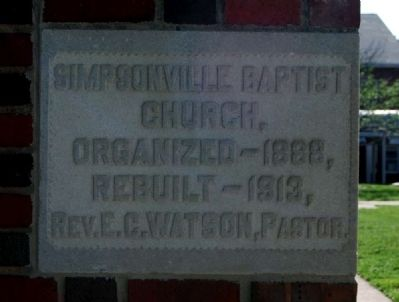 Simpsonville Baptist Church -<br>Cornerstone image. Click for full size.