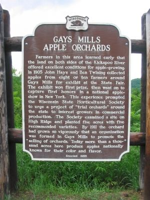 Gays Mills Apple Orchards Marker image. Click for full size.