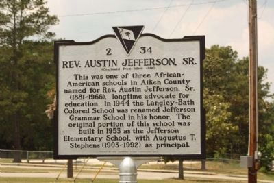 Rev. Austin Jefferson, Sr. Marker image. Click for full size.