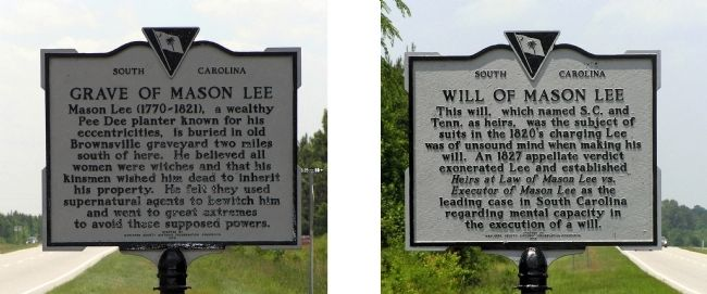 Grave of Mason Lee / Will of Mason Lee Marker image. Click for full size.