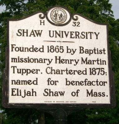 Shaw University Marker image. Click for full size.