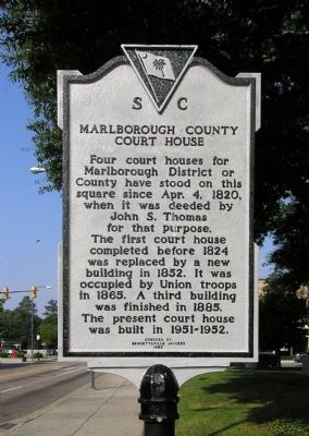 Marlborough County Court House Marker image. Click for full size.