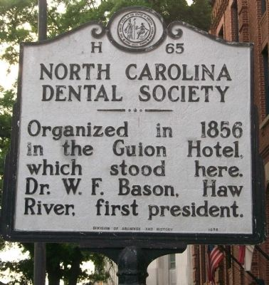 North Carolina Dental Society Marker image. Click for full size.