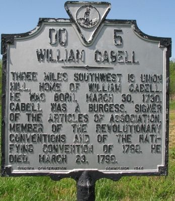 William Cabell Marker image. Click for full size.