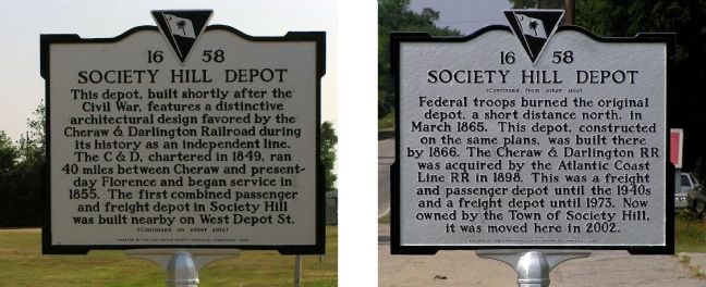 Society Hill Depot Marker image. Click for full size.