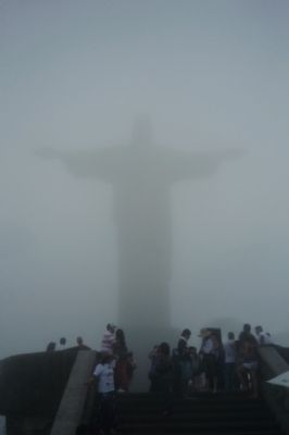 Christ the Redeemer Statue - beginning to emerge image. Click for full size.