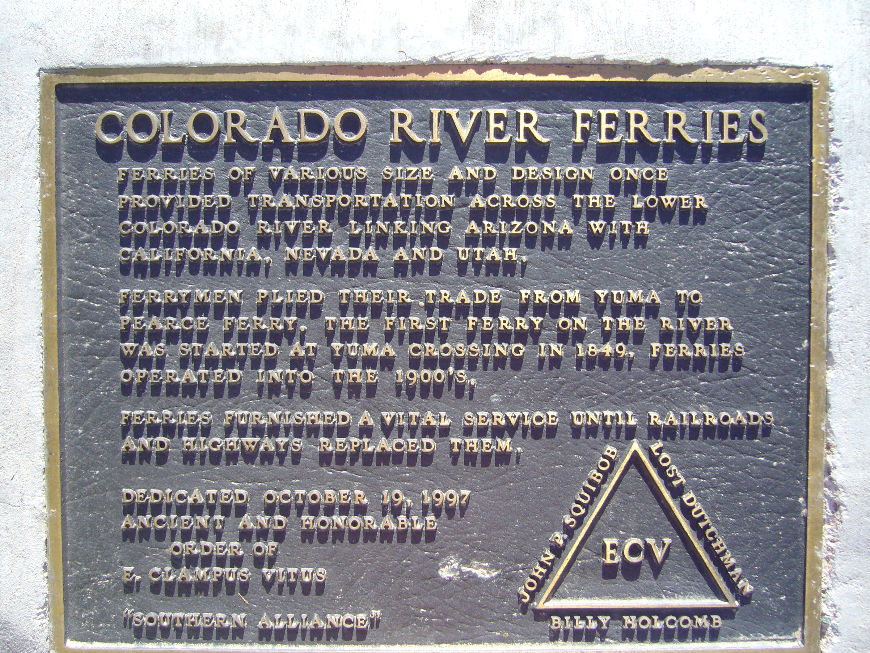 Colorado River Ferries Marker